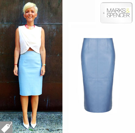 Beat the style blues with a pastel coloured leather pencil skirt ...